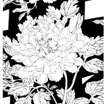 中国古典图案-牡丹和带叶脉的叶子