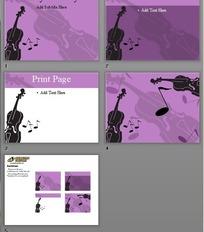 吉他剪影紫色ppt背景模板