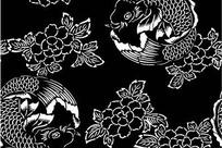 中国古典图案-鲤鱼和牡丹花朵叶子构成的图案