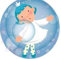 穿着白色裙子拿着气泡的卡通小女孩