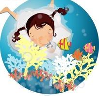 穿着白色裙子潜在水中的可爱小女孩