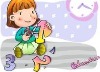 拿着剪刀剪着阿拉伯数字的卡通小女孩
