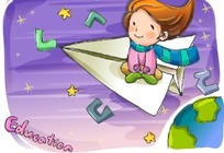 坐在纸飞机上开心飞行的小女生
