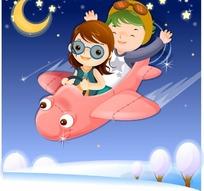 坐着飞机上在夜空中飞翔的小女孩和小男孩