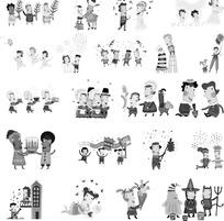 方脸的卡通人物构成的多幅黑白矢量图