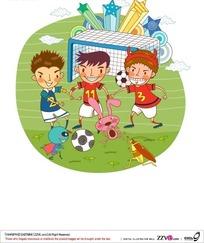 和小动物踢足球的三个小男孩