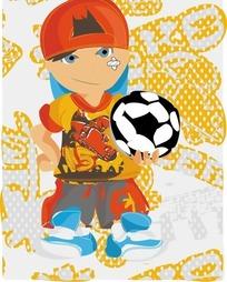 拿着足球的潮流男孩