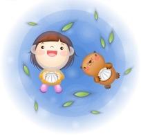 躺着地上看落叶的女孩和狸猫