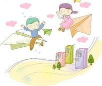 坐在纸飞机上可爱的小男孩小女孩