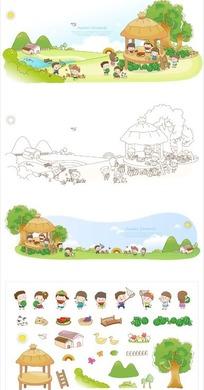 房屋和男孩女孩以及树木等构成的矢量图