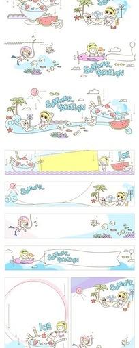 夏日度假的女孩和冰品构成的矢量图