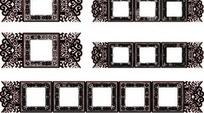 卷曲纹和几何形构成的多款精美古典的方形边框