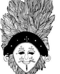 羽毛装饰的人脸面具