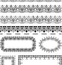 中国古典图案-回纹和几何形构成的花边边框