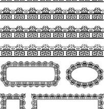 中国古典图案-回纹和卷曲纹构成的精美花边边框