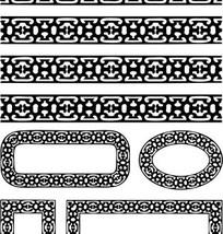 中国古典图案-几何形构成的黑白花边边框
