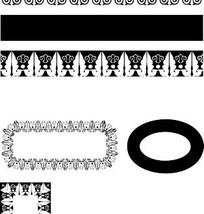 中国古典图案-几何形和卷曲纹构成的黑白花边边框
