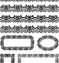 中国古典图案-卷曲纹和半圆形构成的花边边框