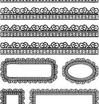 中国古典图案-卷曲纹和几何形构成的黑白花边边框