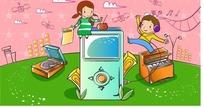 带耳机的男孩和听收音机的女孩的可爱卡通人物失量图