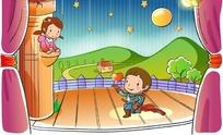 罗密欧与朱丽叶的可爱卡通人物失量图