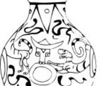 矢量古代带有团的器皿线稿