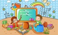 听不懂老师讲解的男孩可爱卡通人物失量图