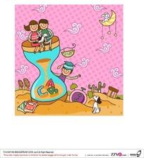 坐在有字母的沙漏上抱着小猫的男孩女孩和沙漏后面戴着博士帽的男孩矢量图