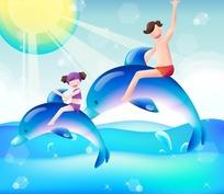 骑着海豚的男孩和女孩