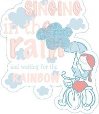 下雨打伞骑车的小女孩