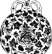 中国古典图案-缠枝牡丹双耳瓶