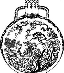 中国古典图案-梅花荷花牡丹花卉纹双耳瓶