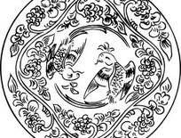 单色传统彩雀与花藤图案AI矢量文件