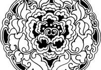 单色传统图案牡丹花AI矢量文件