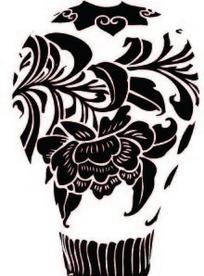 中国古典图案-牡丹植物花卉纹梅瓶