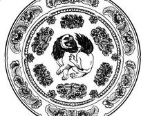 单色传统图案圆盘中的狮子AI矢量文件