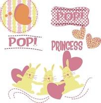 粉色系兔子与爱心卡通图AI矢量文件