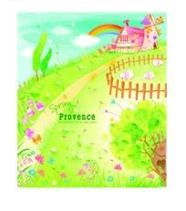 绿色草地上的风车房屋与彩虹卡通图AI矢量文件
