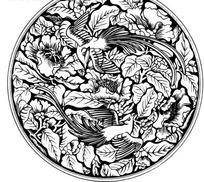 中国古典图案-牡丹凤凰叶子图案