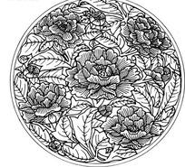 中国古典图案-牡丹叶子纹图案