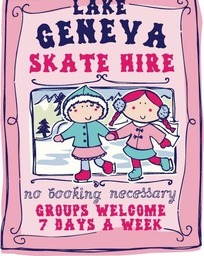 手牵手滑雪的可爱小孩插画AI素材