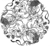 矢量花朵花卉曲线组成的底纹背景