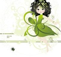 穿绿色裙子的的女子构成的矢量图