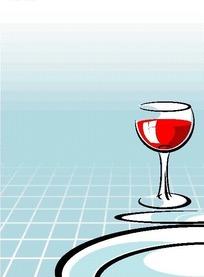 盘子旁盛放红酒的高脚杯EPS矢量文件