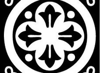 中国古典图案-花朵形和圆形构成的方形图案