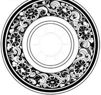单色圆形青花瓷盘子花纹AI矢量文件