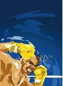 蓝色背景上挥洒汗水的拳击手EPS矢量文件