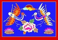 传统双凤牡丹刺绣图案