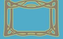 兰底长方形金咖色边框图案分层素材