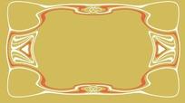 金底长方形边框图案分层素材